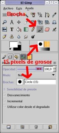 Selecciona una brocha de 14 pixels