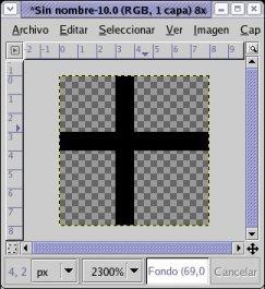 Dibuja una cruz de 1 pixel de grosor