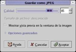 Calidad de archivo JPEG